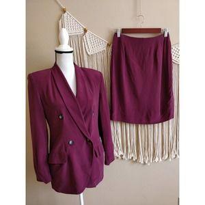 Hugo Buscati Maroon Silk Blazer Skirt Suit Set 6